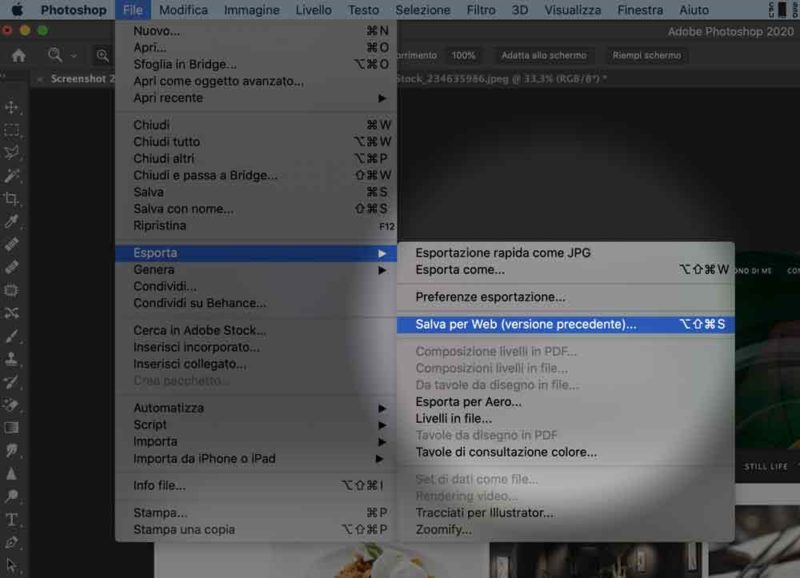 salva web photoshop compressione